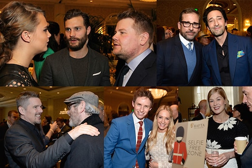 Highlights from the 2015 BAFTA tea included Eddie Redmayne mixing with countrywoman Joanne Froggatt, James Corden, and Steve Carell. (Getty Images)