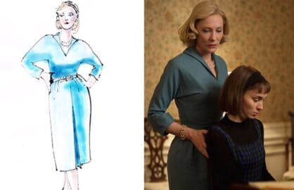 """Sandy Powell sketch and costume for """"Carol"""""""