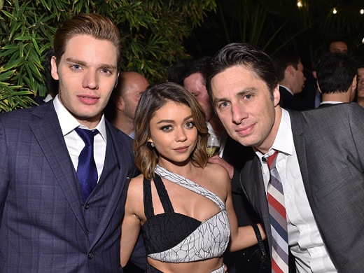 LOS ANGELES, CA - DECEMBER 03: (L-R) Actor Dominic Sherwood, actress Sarah Hyland, and actor Zach Braff attend the GQ 20th Anniversary Men of the Year Party at Chateau Marmont on December 3, 2015 in Los Angeles, California. (Photo by Stefanie Keenan/Getty Images for GQ)