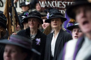 "In this image released by Focus Features, Anne-Marie Duff portrays Violet Miller, left, and Carey Mulligan portrays Maud Watts in a scene from ""Suffragette."" (Steffan Hill/Focus Features via AP)"