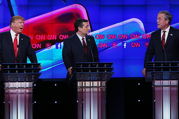 LAS VEGAS, NV - DECEMBER 15: Republican presidential candidates Donald Trump (L) and Jeb Bush (R) repond to each other as U.S. Sen. Ted Cruz (R-TX) listens during the CNN Republican presidential debate on December 15, 2015 in Las Vegas, Nevada. This is the last GOP debate of the year, with U.S. Sen. Ted Cruz (R-TX) gaining in the polls in Iowa and other early voting states and Donald Trump rising in national polls. (Photo by Justin Sullivan/Getty Images)