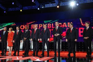 LAS VEGAS, NV - DECEMBER 15: Republican presidential candidates (L-R) Ohio Gov. John Kasich, Carly Fiorina, Sen. Marco Rubio (R-FL), Ben Carson, Donald Trump, Sen. Ted Cruz (R-TX), Jeb Bush, New Jersey Gov. Chris Christie and Sen. Rand Paul (R-KY) are introduced during the CNN presidential debate at The Venetian Las Vegas on December 15, 2015 in Las Vegas, Nevada. Thirteen Republican presidential candidates are participating in the fifth set of Republican presidential debates. (Photo by Ethan Miller/Getty Images)