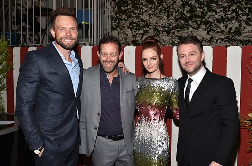 LOS ANGELES, CA - DECEMBER 03: (L-R) Actors Joel McHale, guest, model Lydia Hearst and comedian attends the GQ 20th Anniversary Men of the Year Party at Chateau Marmont on December 3, 2015 in Los Angeles, California. (Photo by Stefanie Keenan/Getty Images for GQ)