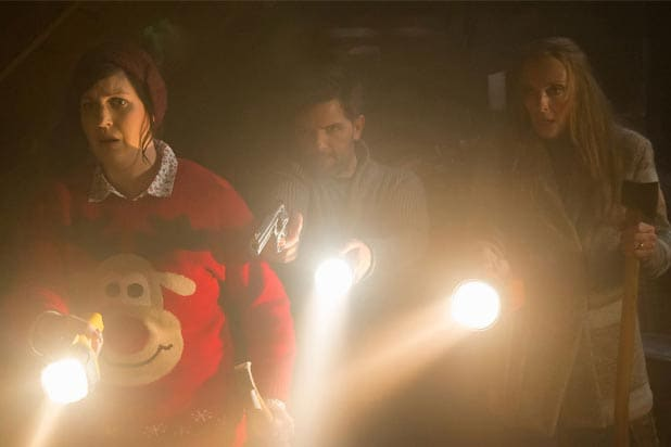 "Allison Tolman, Adam Scott and Toni Colette in ""Krampus"""