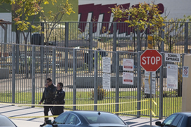 LOS ANGELES, CA - DECEMBER 15: Police converge on Edward R. Roybal Learning Center as all Los Angeles city schools are shut down after receiving a threat on December 15, 2015 in Los Angeles, California. A bomb threat against LAUSD schools was sent to various members of the Los Angeles school board late last night, according to LAPD Chief Charlie Beck. Local authorities immediately notified the FBI. (Photo by David McNew/Getty Images)