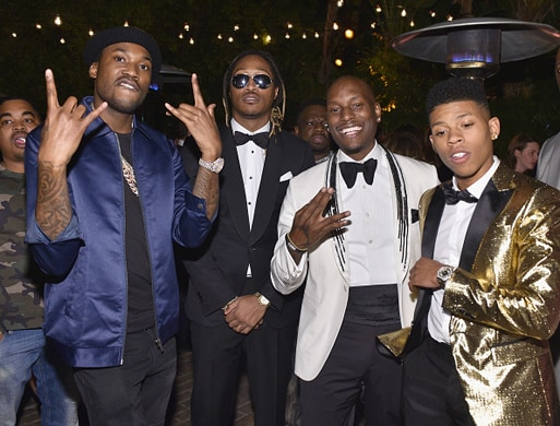 LOS ANGELES, CA - DECEMBER 03: (L-R) Rappers Meek Mill, Future, actors Tyrese Gibson and Bryshere Y. Gray attend the GQ 20th Anniversary Men of the Year Party at Chateau Marmont on December 3, 2015 in Los Angeles, California. (Photo by Stefanie Keenan/Getty Images for GQ)