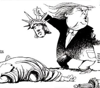 Image result for Lady liberty assaulted by trump