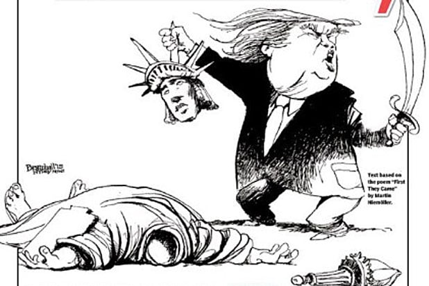 New York Daily News cartoon on Trump and Statue of Liberty?
