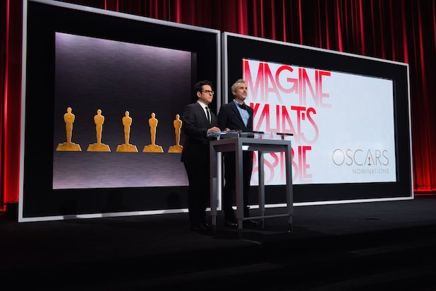 J.J. Abrams and Alfonso Cuaron announcing Oscar nominations