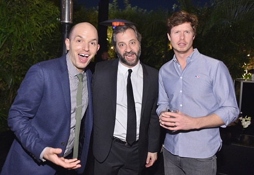 LOS ANGELES, CA - DECEMBER 03: (L-R) Actor Paul Scheer, director Judd Apatow and actor Anders Holm attend the GQ 20th Anniversary Men of the Year Party at Chateau Marmont on December 3, 2015 in Los Angeles, California. (Photo by Stefanie Keenan/Getty Images for GQ)