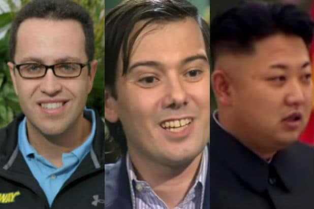 Jared Fogle, Martin Shkreli, and Kim Jong un