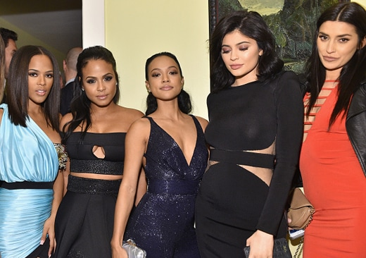LOS ANGELES, CA - DECEMBER 03: (L-R) Actress Serayah McNeill, singer Christina Milian, model Karrueche Tran, TV personality Kylie Jenner, and TV personality Nicole Williams attend the GQ 20th Anniversary Men of the Year Party at Chateau Marmont on December 3, 2015 in Los Angeles, California. (Photo by Stefanie Keenan/Getty Images for GQ)