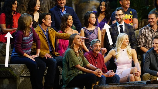 SURVIVOR 31 contestant Andrew Savage points during the live reunion show broadcast from Los Angeles, Wednesday, December 16th on the CBS Television Network. Photo: Monty Brinton/CBS ©2015 CBS Broadcasting, Inc. All Rights Reserved