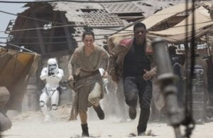 """Daisy Ridley and John Boyeda in """"Star Wars: The Force Awakens"""""""