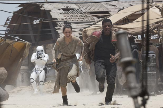 "Daisy Ridley and John Boyeda in ""Star Wars: The Force Awakens"""