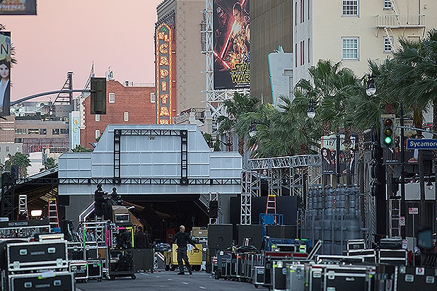 LOS ANGELES, CA - DECEMBER 12: Preparations are made on Hollywood Boulevard for the premiere of Walt Disney Pictures And Lucasfilm's 'Star Wars: The Force Awakens' on December 12, 2015 in the Hollywood section of Los Angeles, California. (Photo by David McNew/Getty Images)