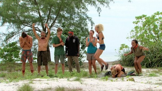 """Tiny Little Shanks to the Heart"" - Joe Anglim, Keith Nale, Spencer Bledsoe, Jeremy Collins, Kimmi Kappenberg, Kelley Wentworth, Abi-Maria Gomes and Tasha Fox during the twelfth episode of SURVIVOR, Wednesday, Dec. 2 (8:00-9:00 PM, ET/PT). The new season in Cambodia, themed ""Second Chance,"" features 20 castaways from past editions who were voted for by fans to have another shot at being named ""Sole Survivor."" Photo: Screen Grab/CBS ©2015 CBS Broadcasting, Inc. All Rights Reserved."