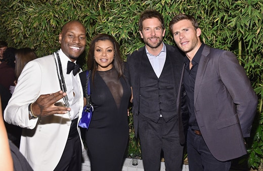 LOS ANGELES, CA - DECEMBER 03: (L-R) Actors Tyrese Gibson, Taraji P. Henson, Bradley Cooper and Scott Eastwood attend the GQ 20th Anniversary Men of the Year Party at Chateau Marmont on December 3, 2015 in Los Angeles, California. (Photo by Stefanie Keenan/Getty Images for GQ)