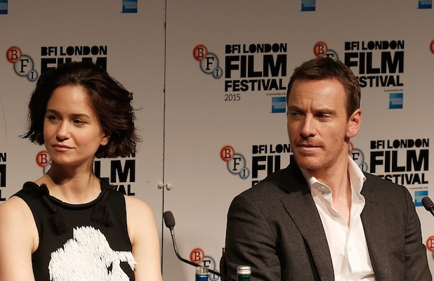 "LONDON, ENGLAND - OCTOBER 18:  Katherine Waterston, Michael Fassbender and Kate Winslet attend the ""Steve Jobs"" Press Conference during the BFI London Film Festival at the Mayfair Hotel on October 18, 2015 in London, England.  (Photo by John Phillips/Getty Images for BFI)"