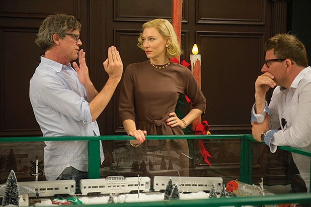 "Todd Haynes and Cate Blanchett on set of ""Carol"""