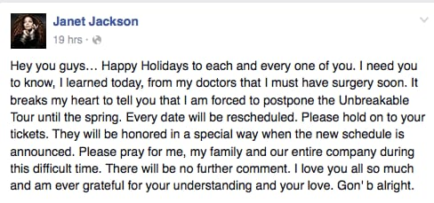 janet jackson facebook message