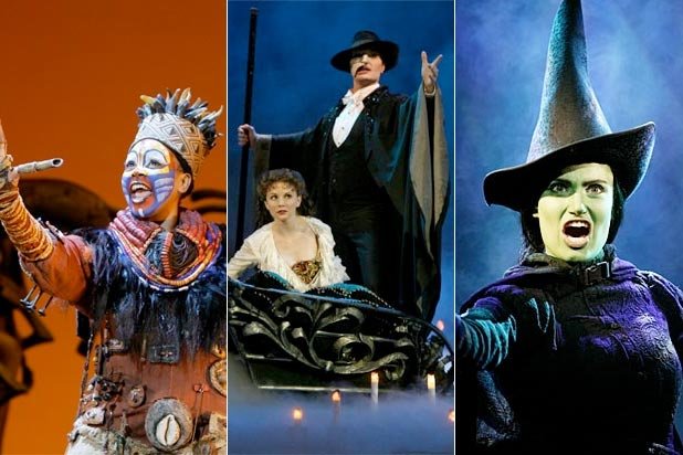 Lion King, Phantom of the Opera, Wicked broadway