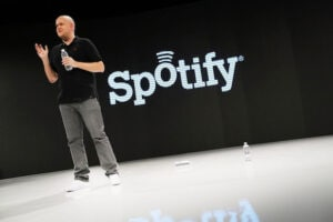 Spotify founder and CEO Daniel Elk speaks at a Spotify event