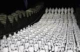 "Five hundred replicas of Stormtrooper characters from ""Star Wars"" are placed on the steps at the Juyongguan section of the Great Wall of China on the outskirts of Beijing"