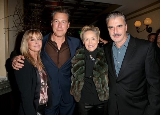 "BEVERLY HILLS, CA - JANUARY 08: (L-R) Actors John Corbett, Bo Derek, Sharon Stone, and Chris Noth attend Ketel One Vodka Celebrates Excellence In Cinema with ""Spotlight"" Pre-Golden Globe Celebration at Bouchon on January 8, 2016 in Beverly Hills, California. (Photo by Imeh Akpanudosen/Getty Images for Ketel One) *** Local Caption *** Sharon Stone;Bo Derek;John Corbett, Chris Noth"
