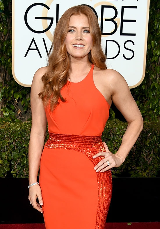 Amy Adams arrives at the Golden Globes