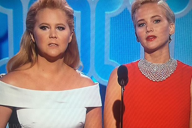 Amy Schumer Jennifer Lawrence present at Golden Globes