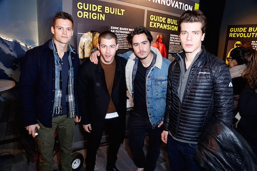 PARK CITY, UT - JANUARY 22: (L-R) Actors Austin Lyon, Nick Jonas, Ben Schnetzer and Gus Halper attend the Eddie Bauer Adventure House during the 2016 Sundance Film Festival at Village at The Lift on January 22, 2016 in Park City, Utah. (Photo by Randy Shropshire/Getty Images for Eddie Bauer)