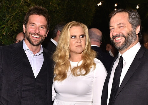 LOS ANGELES, CA - DECEMBER 03: (L-R) Actor Bradley Cooper, actress Amy Schumer, and director Judd Apatow attend the GQ 20th Anniversary Men of the Year Party at Chateau Marmont on December 3, 2015 in Los Angeles, California. (Photo by Stefanie Keenan/Getty Images for GQ)