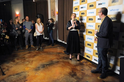 PARK CITY, UT - JANUARY 25: Founder and CEO of IMDb Col Needham (R) presents Bryce Dallas Howard with an IMDb STARmeter Award on January 25, 2016 in Park City, Utah. (Photo by Angela Weiss/Getty Images for IMDb)