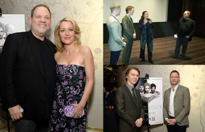 "Harvey Weinstein, Gillian Anderson, Paul Dano, James Norton, and Greta Scacchi unveil ""War & Peace"" at the London on Monday night. (Michael Kovac/Getty Images(2), Wideshot Mikey Glazer)"