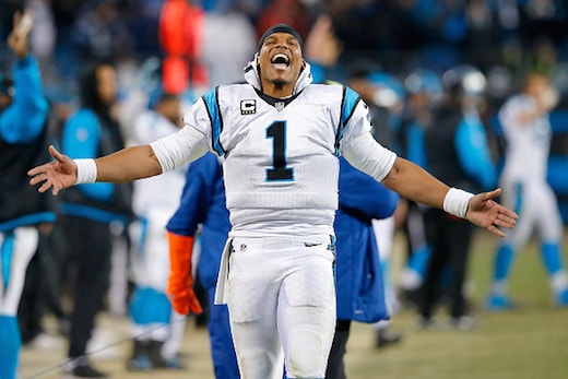 CHARLOTTE, NC - JANUARY 24: Cam Newton #1 of the Carolina Panthers celebrates during the NFC Championship Game against the Arizona Cardinals at Bank of America Stadium on January 24, 2016 in Charlotte, North Carolina. (Photo by Kevin C. Cox/Getty Images)