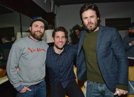 "Actors Charlie Day, left, John Krasinski and Casey Affleck pose together at the ""Manchester by the Sea"" premiere party hosted by Chase Sapphire Preferred during the 2016 Sundance Film Festival on Saturday, Jan. 23, 2016, in Park City, Utah. (Photo by Evan Agostini/Invision for Chase Sapphire Preferred/AP Images)"