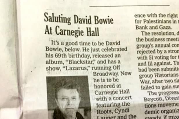 NY Times has bad timing with David Bowie story
