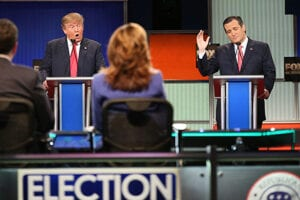 Donald Trump and Ted Cruz at GOP Debate Jan 2016 in Charleston, SC