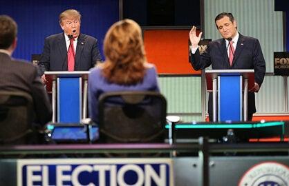 Donald Trump and Ted Cruz at GOP Debate Jan 2016 in Charleston, SC