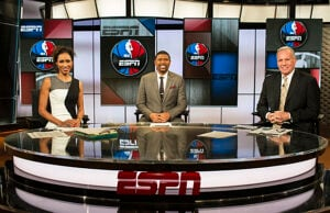 "Sage Steele, Jalen Rose and Doug Collins on ESPN's ""NBA Countdown"""