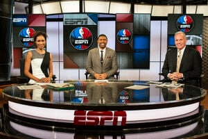 "Sage Steele, Jalen Rose and Doug Collins on ESPN's ""NBA Countdown"""