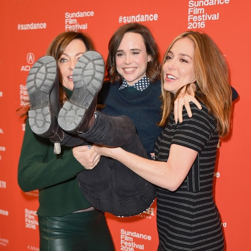 "PARK CITY, UT - JANUARY 23: (L-R) An instant view of actors Allison Janney, Ellen Page and writer/director Sian Heder attend the ""Tallulah"" Premiere during the 2016 Sundance Film Festival at Eccles Center Theatre on January 23, 2016 in Park City, Utah. (Photo by Nicholas Hunt/Getty Images for Sundance Film Festival)"