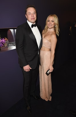 Elon Musk Kate Hudson InStyle and Warner Bros Golden Globe Awards Party
