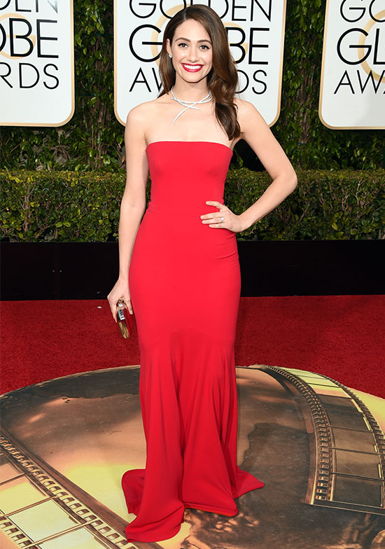Emmy Rossum arriving at the 2015 Golden Globes