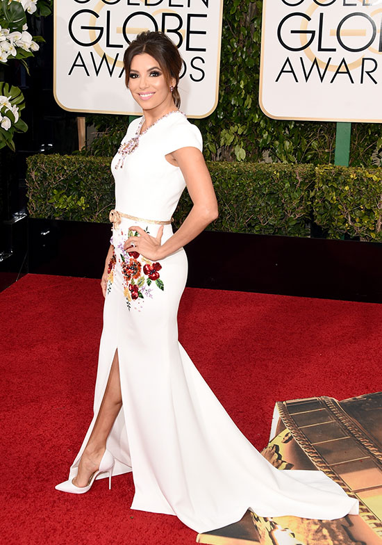 Eva Longoria arriving at Golden Globes 2015