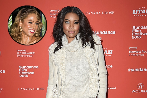 Gabrielle Union at the Birth of a Nation premiere, with Stacey Dash inset