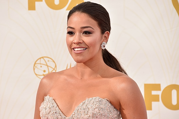 Carmen Sandiego Gina Rodriguez at 2015 Emmy Awards