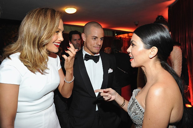 Jennifer Lopez Casper Smart Kourtney Kardashian InStyle and Warner Bros Golden Globes Party