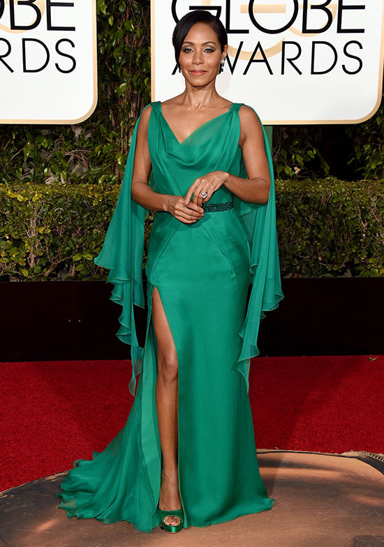Jada Pinkett Smith arrives at the Golden Globes